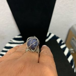Handmade silver wire with blue stone ring size 8
